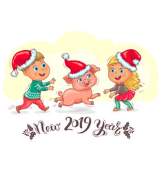Cute kids and little piggy new year 2019 vector
