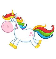 cute magic unicorn character running vector image