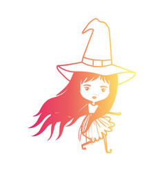 cute witch flying in degraded magenta to yellow vector image