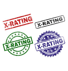 Damaged textured x-rating seal stamps vector
