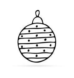 doodle christmas ball icon kids hand drawing vector image