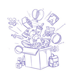 Doodle shopping box with lot children toy vector