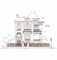 drawing of an old mansion vector image