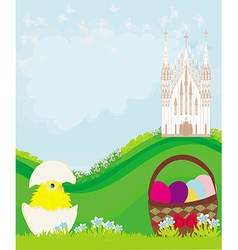 Easter landscape with eggs flowers butterflies and vector image