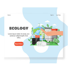 Ecology website landing page design vector
