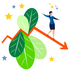 falling indicators business lady is losing vector image