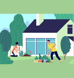 family planting man woman work in garden couple vector image