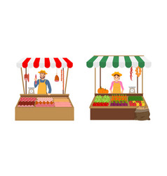 Farmer sellers on market set vector