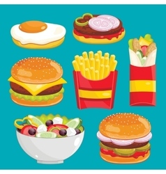 Fast food menu set vector