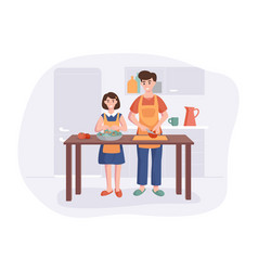 Father and daughter cooking dinner at table in vector
