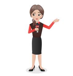 Female journalist holding mic vector
