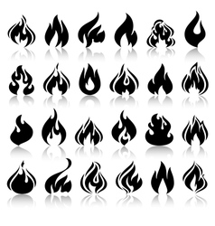 Fire flames set icons with reflection vector