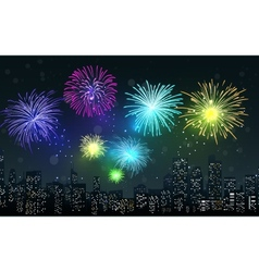 Fireworks on city night scene vector