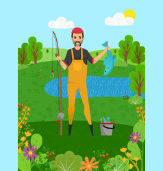 fisherman holding pike fish and rod hob vector image