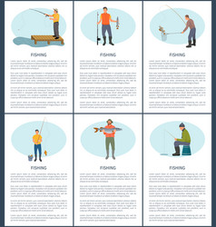 Fishing fisherman with rod and fish icon vector
