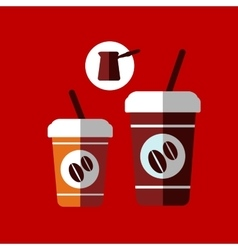 Flat cartoon takeaway coffee cups vector