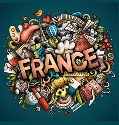 france hand drawn cartoon doodles vector image