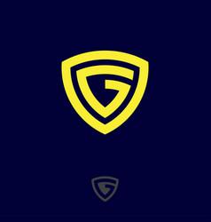 g monogram logo yellow letter shield vector image