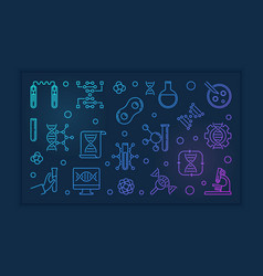 Genetics and dna concept colorful outline vector