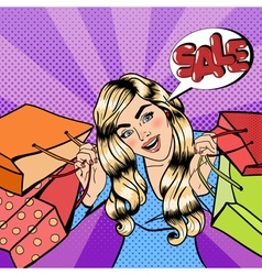 Girl with Shopping Bags Woman on Shopping Sale vector image