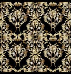Gold 3d baroque seamless pattern floral vintage vector