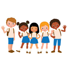 group of happy children in school uniform vector image