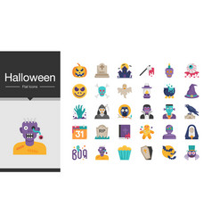 halloween icons flat design for presentation vector image