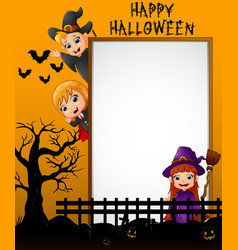 halloween sign with little girl dracula and little vector image