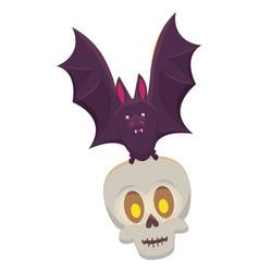 Halloween skull head with bat flying vector