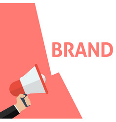 Hand holding megaphone with brand announcement vector