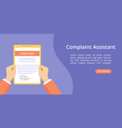 Hand on clipboard complaint assistant landing page vector