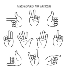 Hands gestures thin line icons vector