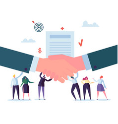 Handshake business agreement flat people character vector