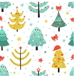 happy christmas trees seamless pattern funny vector image