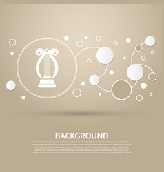 harp icon on a brown background with elegant vector image