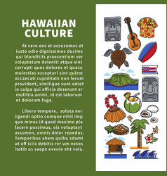 Hawaiian culture elements promo poster with sample vector