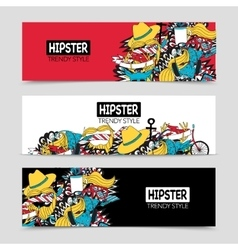 Hipster 3 interactive horizontal banners set vector image
