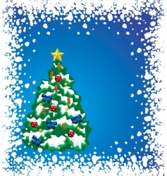 holiday tree with snow frame vector image