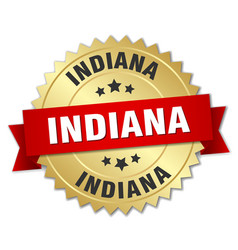 Indiana round golden badge with red ribbon vector