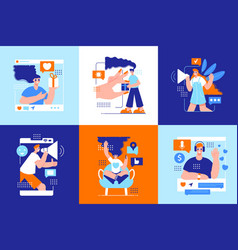 Influencer marketing six square icons vector