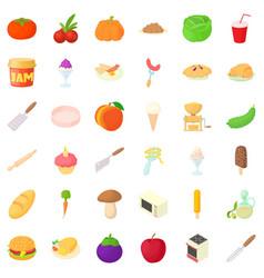 kitchen icons set cartoon style vector image