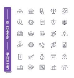 line icons set finance vector image