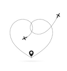 Love airplane route romantic travel heart dashed vector
