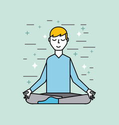 Man meditating poster image vector