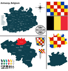 map of antwerp belgium vector image