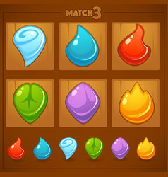 Match 3 mobile game games objects earth water vector
