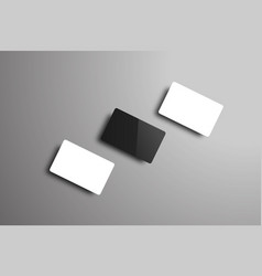 mockup of three bank or gift cards lying on a vector image