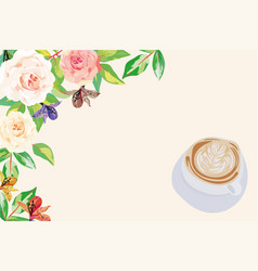 morning flowers coffee white background vector image