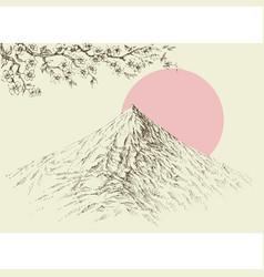 Mountain peaks altitude landscape cherry blossom vector