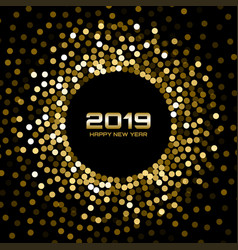 New year 2019 card background gold confetti vector
